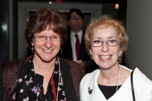 Phyllis Kaniss (right) with Academy board member Julia Adams.